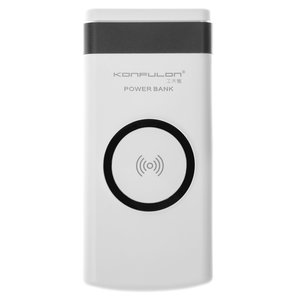 Power Bank Konfulon M11W, (10000 mAh, 2 USB outputs 5 V 2.1 A, 145.6 × 71 × 16 mm, with wireless charger, black)