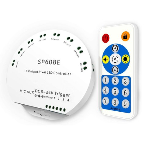 SP608E Music LED Controller with Radio Remote Control 4096 px, 5 24 V, Bluetooth